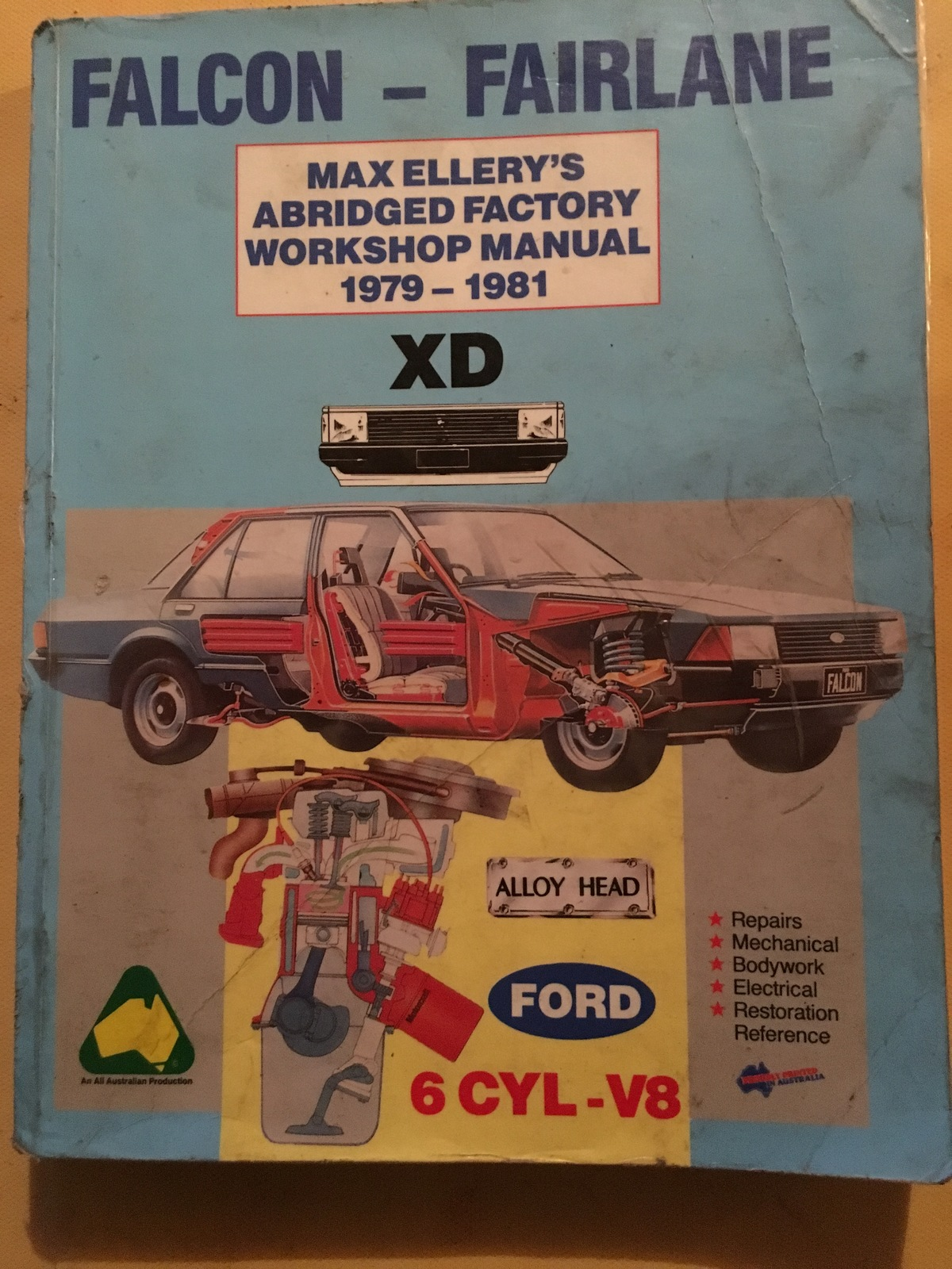FORD FALCON XD 1979 1981 6CYL V8 MAX ELLERY WORKSHOP MANUAL