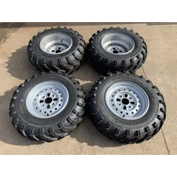 FRONT & REAR 12 INCH ATV RIMS TYRES  SET 4 YAMAHA BIGBEAR 350 400 KODIAK 450