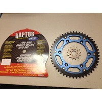 YAMAHA YZ 125 250 49 TOOTH REAR MTX RAPTOR & 13 FRONT SPROCKET BLUE