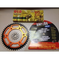 KTM 45 T REAR 13 T FRONT SPROCKET MTX RAPTOR 300 DID VX2 GOLD 520 XRING CHAIN