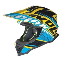 NOLAN N 53 DIRT BIKE OFF ROAD HELMET MADE IN ITALY BLUE YELLOW SIZE MEDIUM