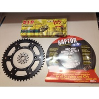 KTM 50 TOOTH REAR & 14 T FRNT SPROCKET BLACK MTX RAPTOR DID XRING CHAIN HUSABERG