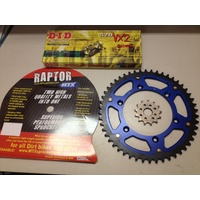 YAMAHA YZF 400 426 450 50 TOOTH REAR 13 F SPROCKET MTX STEALTH DID VX3 CHAIN BLUE