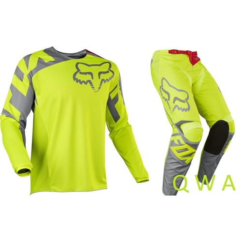 FOX RACING MX GEAR SET 180 RACE 2017 FLURO YEL GREEN GEAR PANTS 38 JERSEY XLARGE